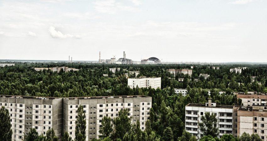 Ansicht der verlassenen Stadt Pripjat in der Nähe von Tschernobyl